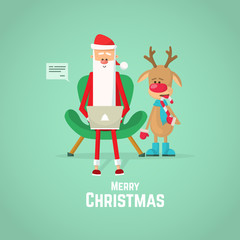 Santa Claus and reindeer checking mail on a laptop. Christmas card with Santa Claus and reindeer.
