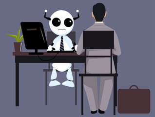 Candidate having a job interview with a robot HR manager, EPS 8 vector illustration