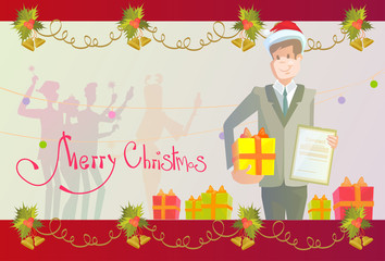 Business Man Hold Contract Gift Box New Year Christmas Present Celebration Holiday Frame Vector Illustration