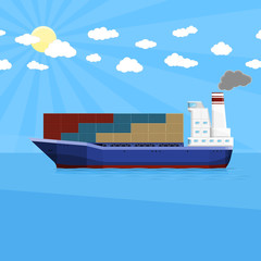 Cargo ship with intermodal containers. Maritime transport delivery. Flat vector illustration 10 EPS