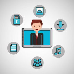 character man technology social media vector illustration eps 10