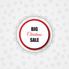 Christmas sale background. Red circle. Vector