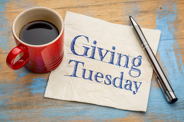 Giving Tuesday concept on napkin
