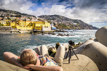 Photographing an old castle in Funchal, Portugal