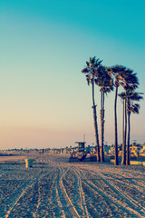 Sunset in Newport Beach in vintage tone