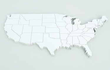 Map of USA. Highly detailed 3D rendering