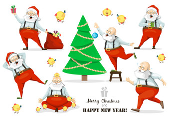 Santa Claus set of poses and emotions