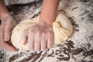Knead dough with hands