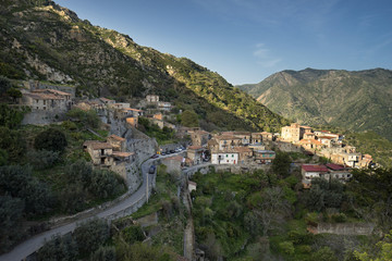 The village of Galliciano, nestled in the valleys of the Fiumara Amendolea, photographed at sunset, Reggio Calabria, Calabria, Italy
