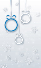christmas baubles with snowflakes - vector xmas vertical android background ( new year )