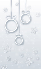 christmas baubles with snowflakes - vector xmas vertical android background (white , new year )
