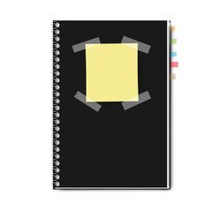 realistic notebook, exercise book, vector illustration