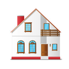 residential two-storey house with a balcony. vector illustration