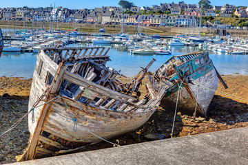 Abandoned fishing boats. Brittany. France
