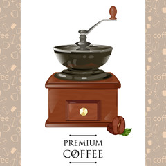 classic coffee grinder in wooden case vector illustration.  mill