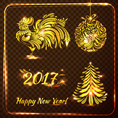 set of stylish new year symbols on transparent checkered backgro