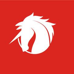 Unicorn Head Logo Vector on Red Background