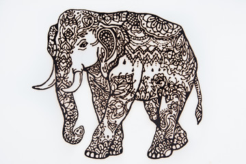 Figure henna Indian elephant on a white background.