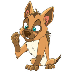 Cute and happy cartoon jackal (coyote, hyena), isolated on white background. Childish vector illustration and colorful book page for kids.