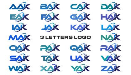 3 letters modern generic swoosh logo  AAK, BAK, CAK, DAK, EAK, FAK, GAK, HAK, IAK, JAK, KAK, LAK, MAK, NAK, OAK, PAK, QAK, RAK, SAK, TAK, UAK, VAK, WAK, XAK, YAK, ZAK