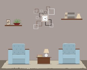 Living room in cocoa color. There is a two blue armchairs, a square clock, a shelves and other objects in the picture. Vector flat illustration
