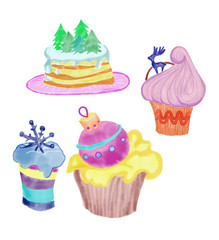 Colorful original set of Christmas cupcakes with decor drawn by acrylic paint, watercolor and pencil for holiday celebration