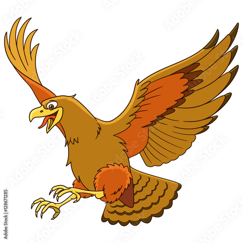 """Cute cartoon eagle bird (hawk, condor, falcon), isolated ..."