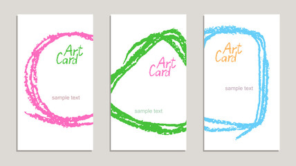 Set of handmade business sample cards with hand drawing textures on white. Hand drawing copy space background with bright color. Crayon pastel chalk art lines and design elements, vector.