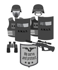 Serve and protect vector illustration. SWAT and police. Flat style.