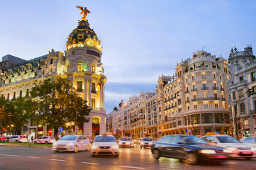 Madrid at dusk, Spain