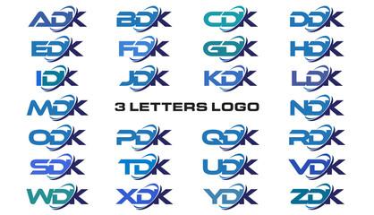 3 letters modern generic swoosh logo  ADK, BDK, CDK, DDK, EDK, FDK, GDK, HDK, IDK, JDK, KDK, LDK, MDK, NDK, ODK, PDK, QDK, RDK, SDK, TDK, UDK, VDK, WDK, XDK, YDK, ZDK