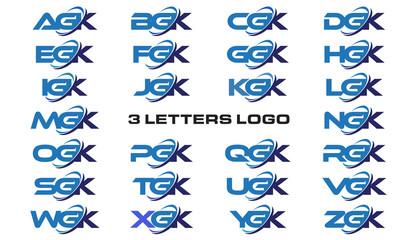 3 letters modern generic swoosh logo  AGK, BGK, CGK, DGK, EGK, FGK, GGK, HGK, IGK, JGK, KGK, LGK, MGK, NGK, OGK, PGK, QGK, RGK, SGK, TGK, UGK, VGK, WGK, XGK, YGK, ZGK