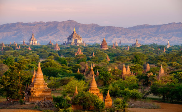 Sunrise landscape view with silhouettes of old temples, Bagan