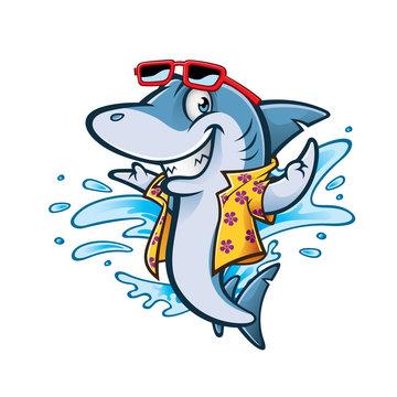 Cartoon Shark Beach
