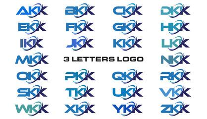 3 letters modern generic swoosh logo  AKK, BKK, CKK, DKK, EKK, FKK, GKK, HKK, IKK, JKK, KKK, LKK, MKK, NKK, OKK, PKK, QKK, RKK, SKK, TKK, UKK, VKK, WKK, XKK, YKK, ZKK
