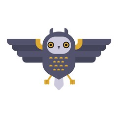 Owl wild bird cartoon vector.