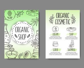 Brochure with cosmetic bottles. Organic cosmetics illustration.