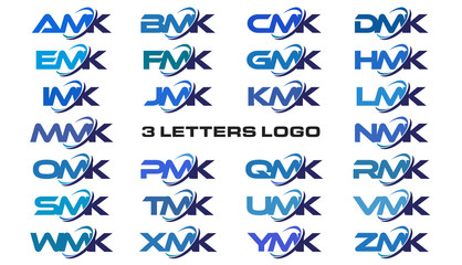 3 letters modern generic swoosh logo  AMK, BMK, CMK, DMK, EMK, FMK, GMK, HMK, IMK, JMK, KMK, LMK, MMK, NMK, OMK, PMK, QMK, RMK, SMK, TMK, UMK, VMK, WMK, XMK, YMK, ZMK