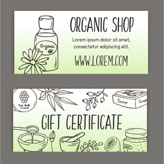Gift certificate with cosmetic bottles. Organic cosmetics illustration.