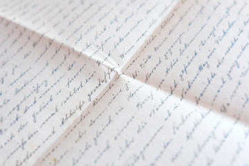 handwritten text on folded paper - old mail ,  letter