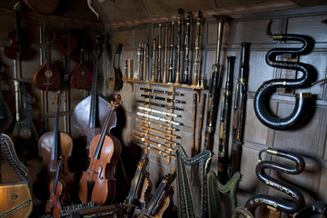 A collection of musical instruments in Snowshill England.