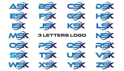 Fototapeta 3 letters modern generic swoosh logo  ASK, BSK, CSK, DSK, ESK, FSK, GSK, HSK, ISK, JSK, KSK, LSK, MSK, NSK, OSK, PSK, QSK, RSK, SSK, TSK, USK, VSK, WSK, XSK, YSK, ZSK obraz