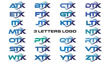 3 letters modern generic swoosh logo  ATK, BTK, CTK, DTK, ETK, FTK, GTK, HTK, ITK, JTK, KTK, LTK, MTK, NTK, OTK, PTK, QTK, RTK, STK, TTK, UTK, VTK, WTK, XTK, YTK, ZTK