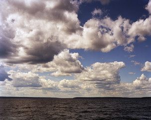 Afternoon clouds rolls in on Lake Waskesiu  in the heart of Prince Albert National Park, Saskatchewan, Canada.