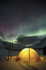 Aurora over back country tent