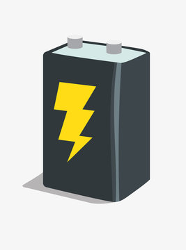 9 volt battery with electricty icon