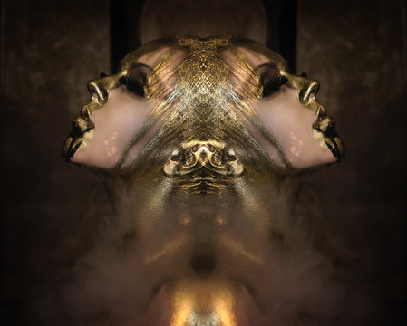 Attractive hot woman with beautiful liquid gold on her face and body is posing dark background in smoke, closed eyes, mirrored, double