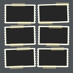 Flat vector photo frame set on transparency duct tape. Template photo design.Vector illustration in simple style for design and flat motion design