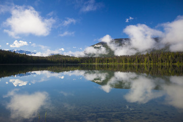 Reflection of Unna Lake in Bowron Lake Provincial Park