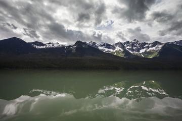 Caribou Mountain Range refected in Lanezi Lake.